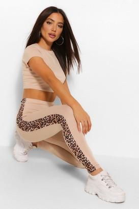 boohoo Leopard Print Side StripeTop and Legging Co-ord