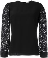 Saint Laurent lace sleeve blouse - women - Cotton/Polyamide/Acetate/Modal - 38