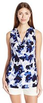 Ellen Tracy Women's Sleeveless Drape Neck Solid Top