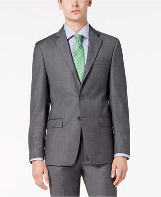 Calvin Klein Men Slim-Fit Stretch Gray Sharkskin Suit Jacket