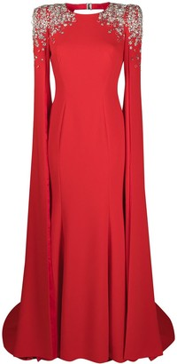 Jenny Packham Embellished-Shoulder Cape Dress