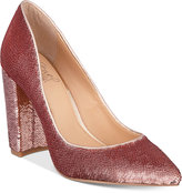 Badgley Mischka Luxury Block-Heel Evening Pumps