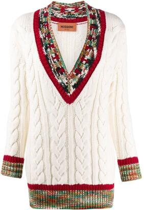 Missoni patterned V-neck cable knit jumper