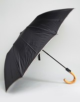 Paul Smith Multi Stripe Trim Crook Umbrella In Black