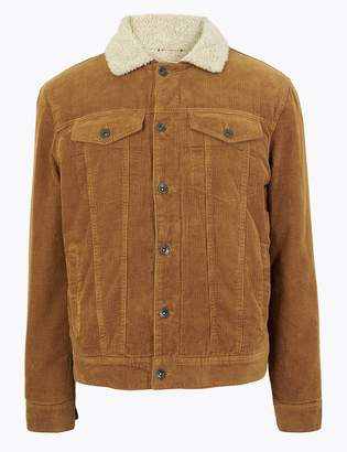 Marks and Spencer Pure Cotton Corduroy Borg Lined Jacket
