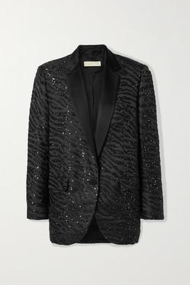 MICHAEL Michael Kors Satin-trimmed Sequin-embellished Zebra-jacquard Blazer - Black