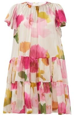 La DoubleJ Snow Drop Prom Floral-print Silk Dress - Womens - White Print