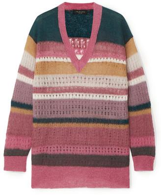 Rag & Bone Striped Open-knit Mohair And Silk-blend Cardigan