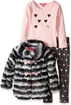 Betsey Johnson Little Girls' 3 Piece Two Tone Faux Fur Jacket Set