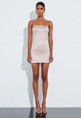 Missguided Nude Satin Structured Curve Mini Dress