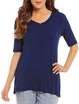 Westbound Ribbed Elbow Sleeve V-Neck Top