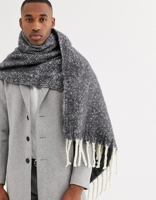 ASOS DESIGN blanket scarf in grey and white fluffy texture