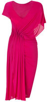 Donna Karan Shocking Pink Ridge Pleated Low Back Dress