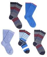 F&F 5 Pair Pack Of Striped Ankle Socks Child Shoe 9-12