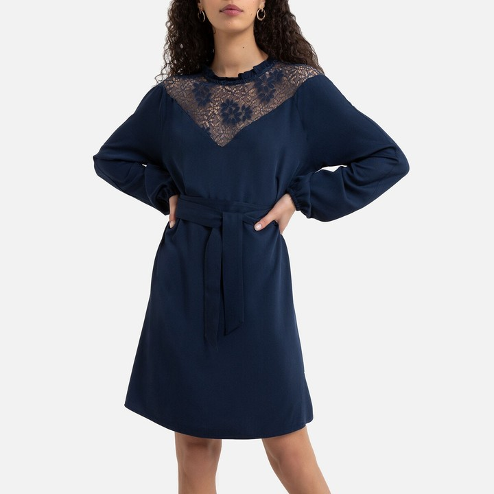 Vila Mini Shift Dress with High Lace Neck and Long Sleeves