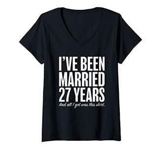 Womens 27 Years Married Twenty Seven Years Wedding Anniversary V-Neck T-Shirt