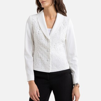 Anne Weyburn Fitted Single-Breasted Jacket in Lace and Crepe