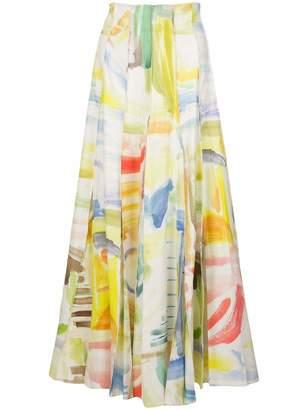 Rosie Assoulin Million Pleat Watercolor Skirt