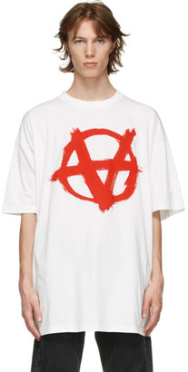 Vetements White Oversized Anarchy Gothic Logo T-Shirt