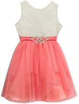 Rare Editions Metallic-Detail Lace Party Dress, Big Girls (7-16)