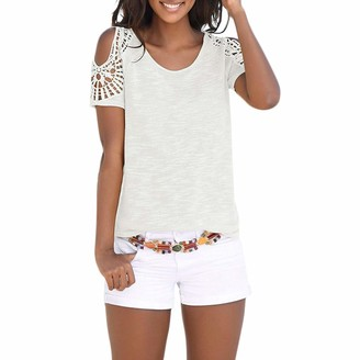 Toamen Women's Tops T-Shirt Sale Clearance 2019 New Ladies Casual Cold Shoulder Short Sleeve Bohemian Lace Patchwork Tees Shirt Blouse (White 14)