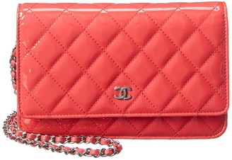 Chanel Pink Quilted Patent Leather Single Flap Wallet On Chain