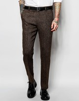 Asos Slim Suit Pants In Brown Harris Tweed 100% Wool