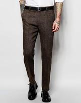 Asos Slim Suit Trousers In Brown Harris Tweed 100% Wool