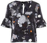 Topshop Floral print ruffle t-shirt