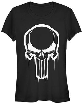 Fifth Sun Women's Tee Shirts BLACK - Punisher Black & White Skull Face Crewneck Tee - Women & Juniors