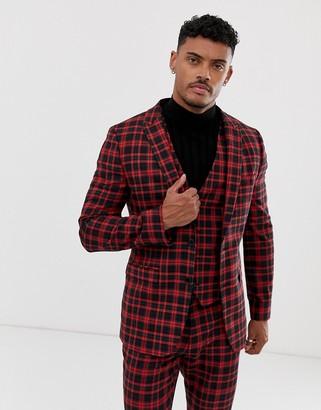 Asos Design DESIGN super skinny suit jacket in red tartan check