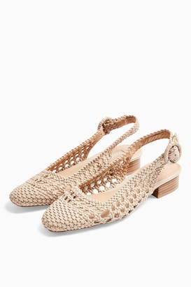 Topshop LILY Cream Woven Slingback Shoes