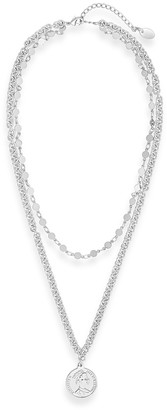 Sterling Forever Rhodium Plated Coin Layered Necklace