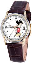 Disney Mickey Mouse Mens Brown Strap Watch-W000543