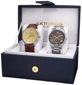 Akribos XXIV Men's Multifunctions & Date Leather/Stainless Steel Bracelet/Strap Watch Set