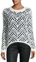 Neiman Marcus High-Low Dot-Print Sweater, Black/White