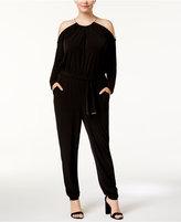 MICHAEL Michael Kors Size Cold-Shoulder Choker Jumpsuit