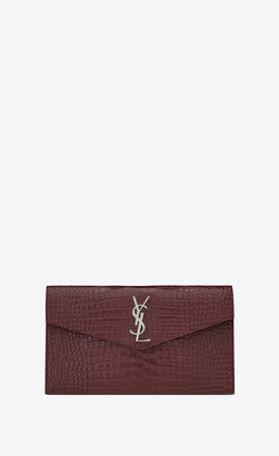 Saint Laurent Monogram Slg Uptown Pouch In Crocodile Embossed Shiny Leather Legion Red Onesize