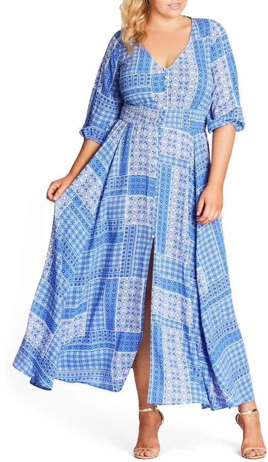 China Plate A-Line Maxi Dress