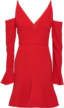 Nicholas Cold-shoulder Fluted Crepe Mini Dress