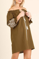 Umgee USA Tan Embroidered Dress