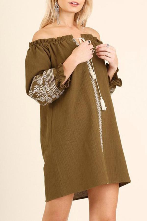 Umgee USA Tan Embroidered Dress