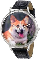 Whimsical Watches Women's T0130029 Corgi Black Leather And Silvertone Photo Watch