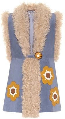 Miu Miu Shearling-lined suede vest