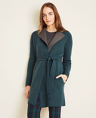 Ann Taylor Two Tone Belted Coatigan