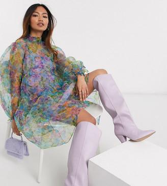 Reclaimed Vintage inspired midi dress in organza floral print