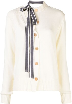 Monse Asymmetric Ribbon Tie-Neck Cardigan