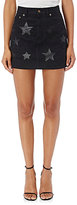 Saint Laurent Women's Star-Inset Denim Miniskirt-BLACK