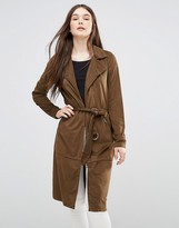 Only Faux Suede Long Coat