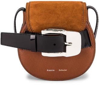 Proenza Schouler Mini Leather Buckle Crossbody Bag in Chocolate | FWRD